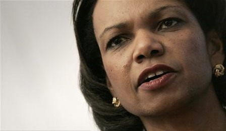 Condolezza rice tells Olmert she is concerned about palestinians